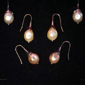 Pearl earrings - Brown, Gray, Cream